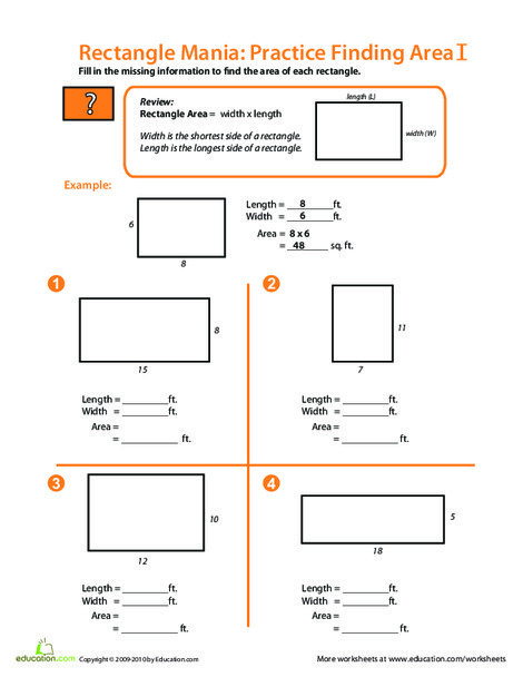 Fourth Grade Math Worksheets: Rectangle Mania: Finding Area