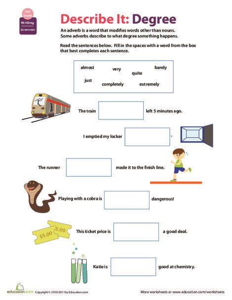 Second Grade Reading & Writing Worksheets: All About Adverbs: To What Extent?
