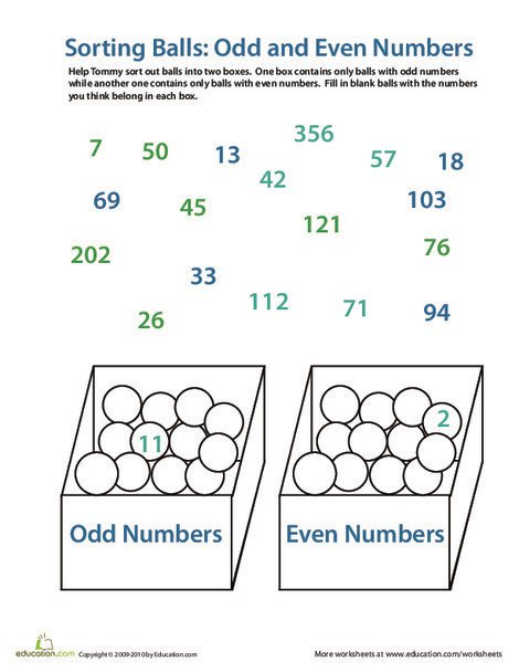 First Grade Math Worksheets: Sorting Odd and Even Numbers