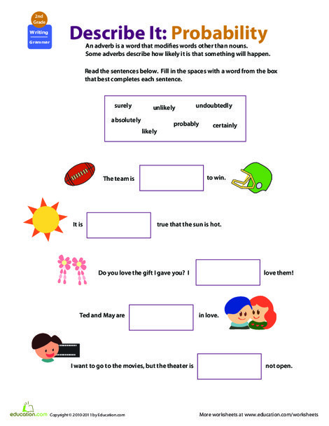Second Grade Reading & Writing Worksheets: All About Adverbs: How Likely?
