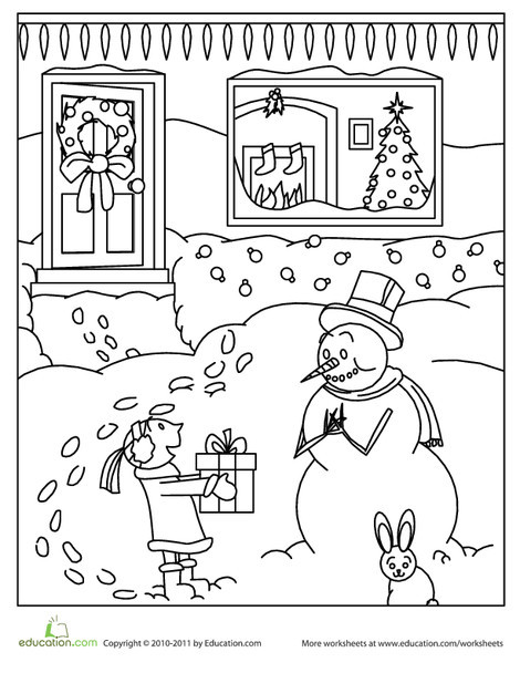 First Grade Holidays Worksheets: Color the Snowman's Gift