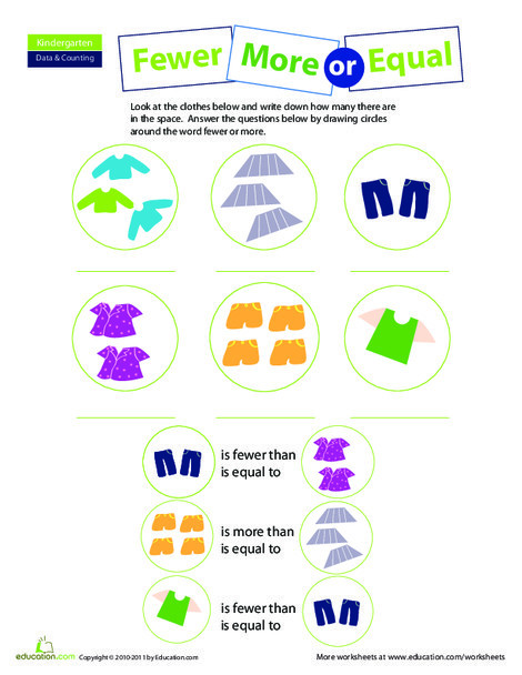Kindergarten Math Worksheets: More, Less, or Equal: Practice Comparing Numbers