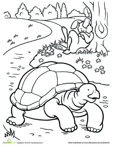 First Grade Coloring Worksheets: Color the Tortoise and the Hare