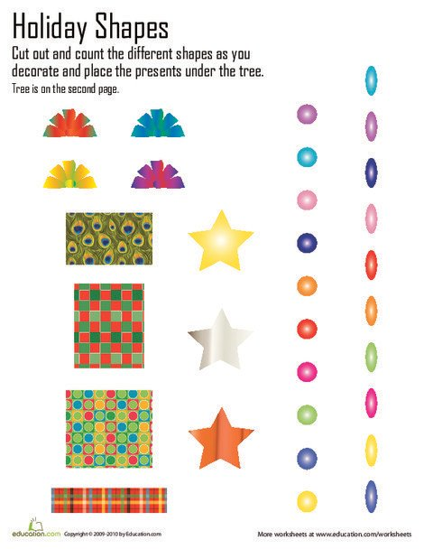 Kindergarten Math Worksheets: Christmas Shapes Cut and Paste