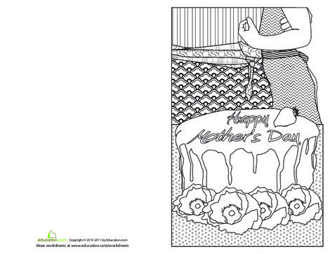 Fourth Grade Holidays Worksheets: Mother's Day Cards to Make: Strawberry Cake