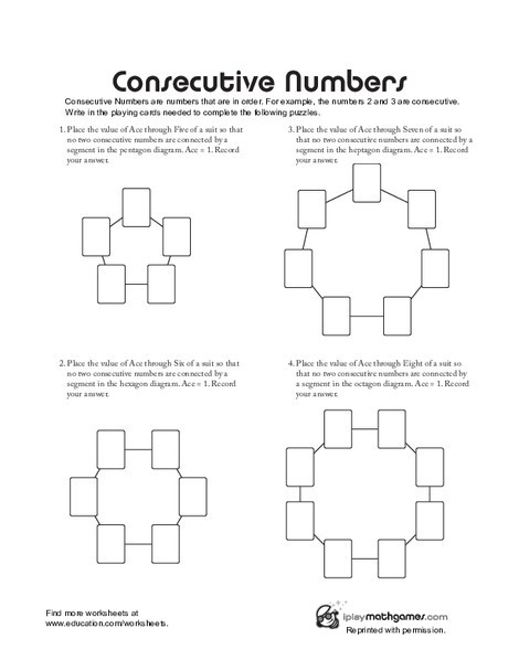 First Grade Math Worksheets: Consecutive Numbers