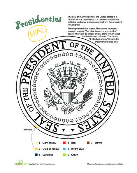 Second Grade Holidays Worksheets: Presidential Seal
