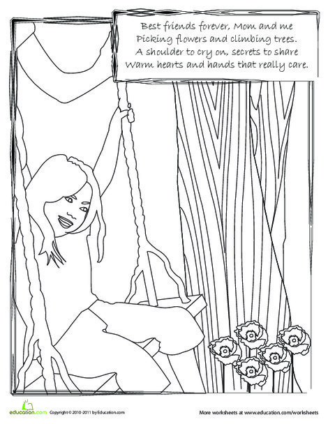 First Grade Holidays Worksheets: Mom and Me: A Coloring Page and Rhyme for Mother's Day