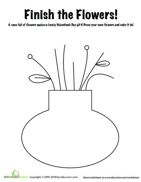 Kindergarten Coloring Worksheets: Valentine's Flowers Coloring Page