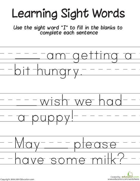 "Kindergarten Reading & Writing Worksheets: Learning Sight Words: ""I"""