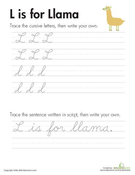 "Third Grade Reading & Writing Worksheets: Cursive Handwriting: ""L"" is for Llama"