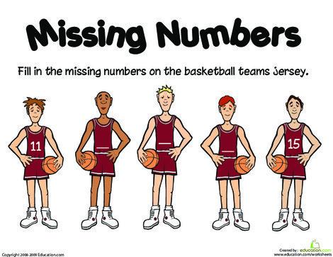 Kindergarten Math Worksheets: Missing Numbers: 11-15