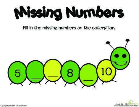 Kindergarten Math Worksheets: Missing Numbers: 5-10