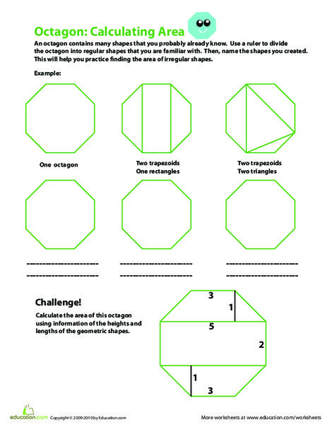 Fourth Grade Math Worksheets: Calculating the Area of an Octagon