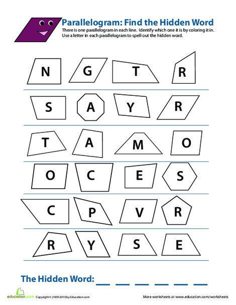 Third Grade Math Worksheets: Identifying Parallelograms