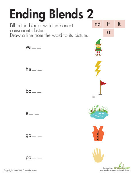 First Grade Reading & Writing Worksheets: Consonant Blends: Ending Sounds
