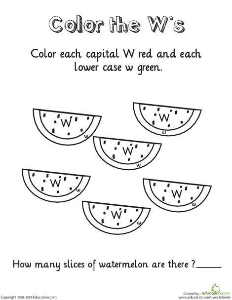 Kindergarten Reading & Writing Worksheets: Color the W's
