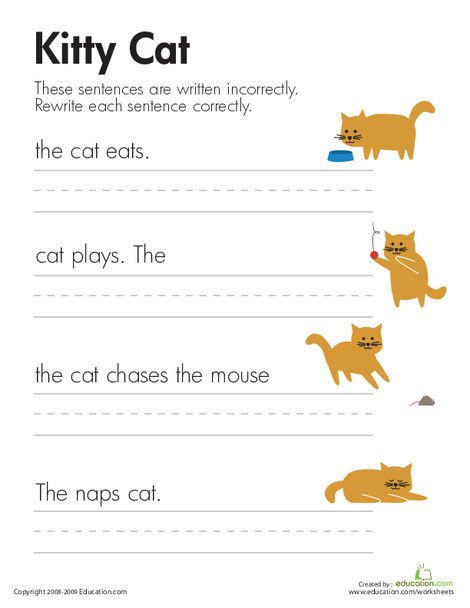 First Grade Reading & Writing Worksheets: Fix the Sentences: Kitty Cat