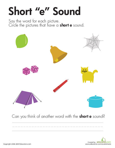 """First Grade Reading & Writing Worksheets: Short """"E"""" Vowel"""