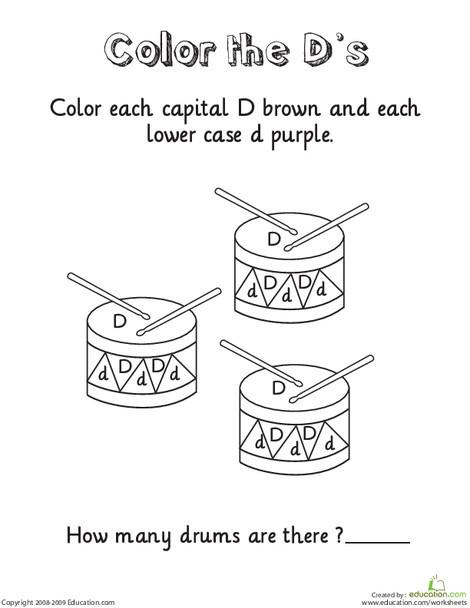 Kindergarten Reading & Writing Worksheets: Learning the Letter D