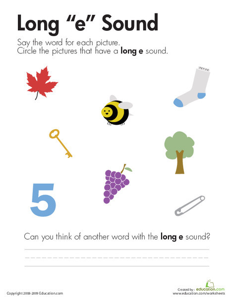 """First Grade Reading & Writing Worksheets: Long """"E"""" Vowel"""