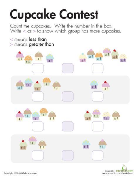First Grade Math Worksheets: Comparing Cupcakes: Less Than and Greater Than
