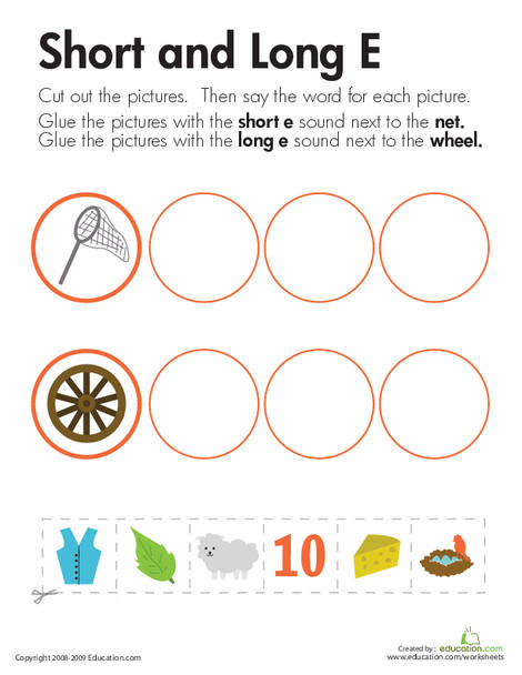 """First Grade Reading & Writing Worksheets: Long and Short Vowels: """"E"""""""
