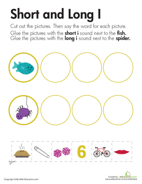"First Grade Reading & Writing Worksheets: Long and Short Vowels: ""I"""