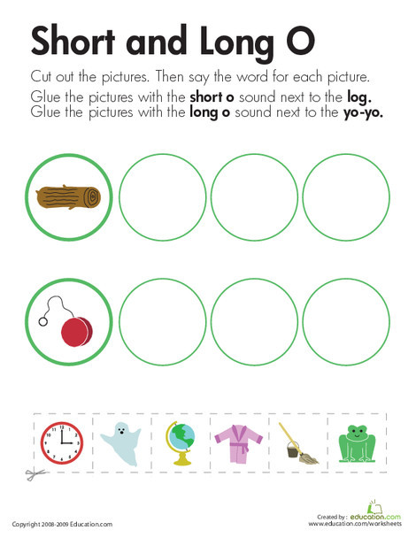 """First Grade Reading & Writing Worksheets: Long and Short Vowels: """"O"""""""