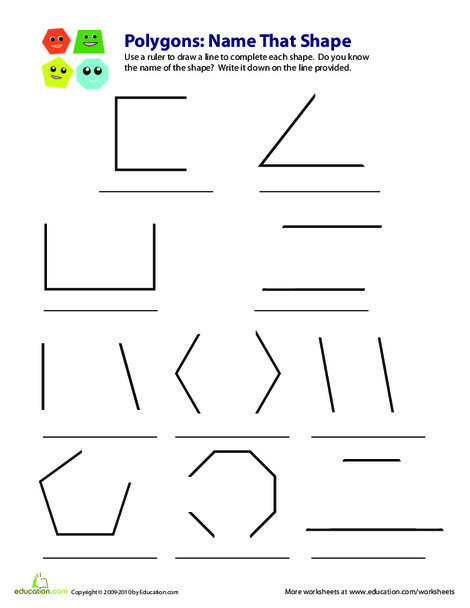 Third Grade Math Worksheets: Polygons: Name that Shape