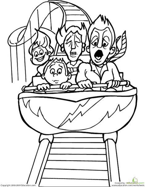 Second Grade Coloring Worksheets: Color the Roller Coaster Riders