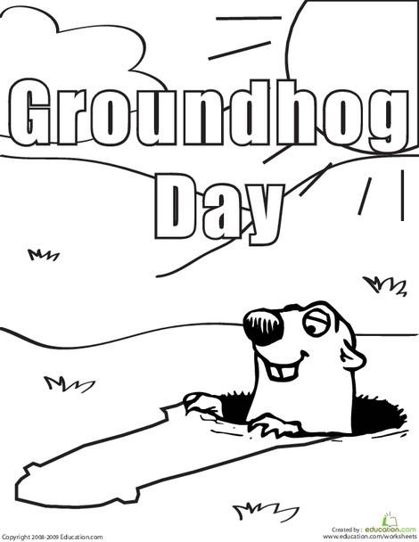 Kindergarten Coloring Worksheets: Color the Groundhog Day Groundhog