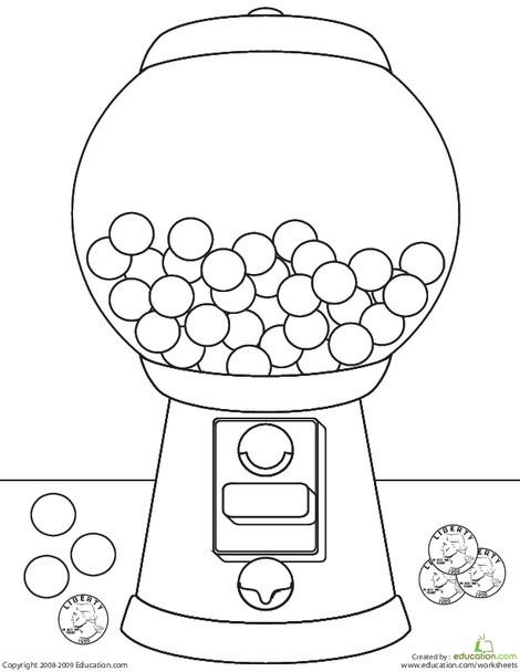 Kindergarten Coloring Worksheets: Color the Gumball Machine