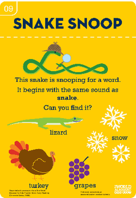 Preschool Reading & Writing Worksheets: The Sn Sound: Snake to It!