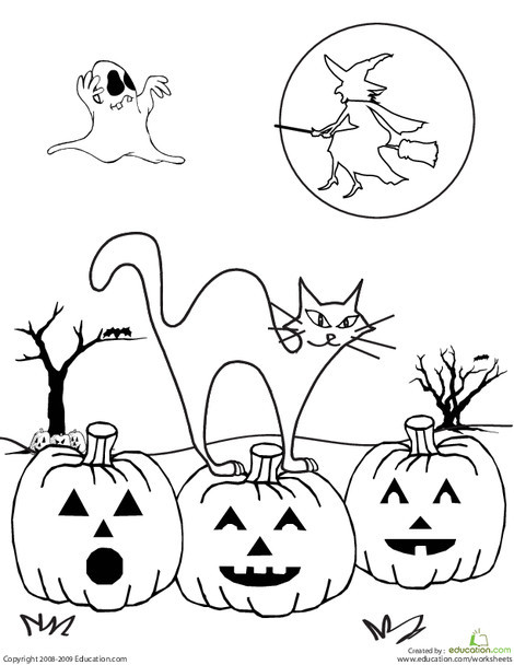 Second Grade Holidays Worksheets: Color the Spooky Halloween Scene