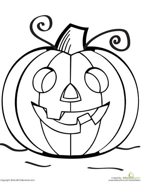 Preschool Holidays Worksheets: Color the Grinning Jack O' Lantern