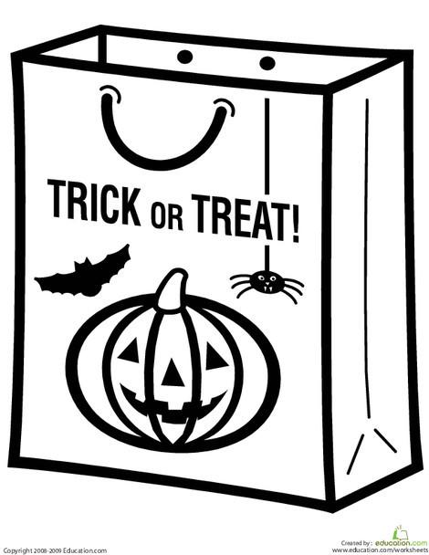 Preschool Holidays Worksheets: Color the Trick or Treat Bag