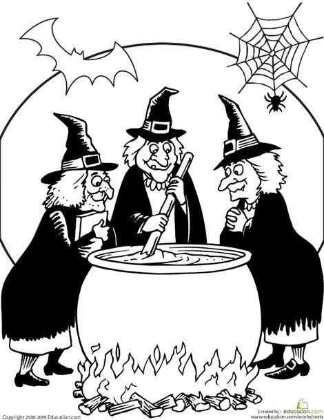 First Grade Coloring Worksheets: Toil and Trouble Coloring Page