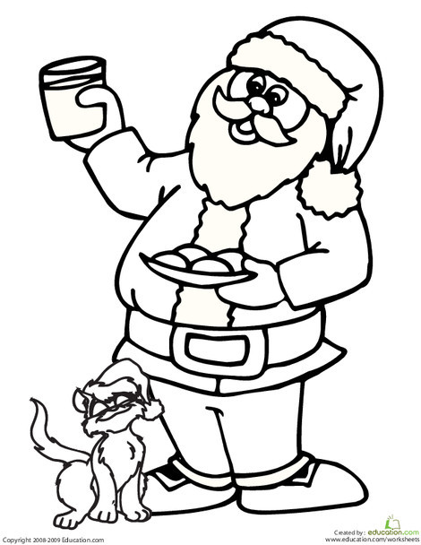 Kindergarten Holidays Worksheets: Santa Claus and Cat Coloring Page