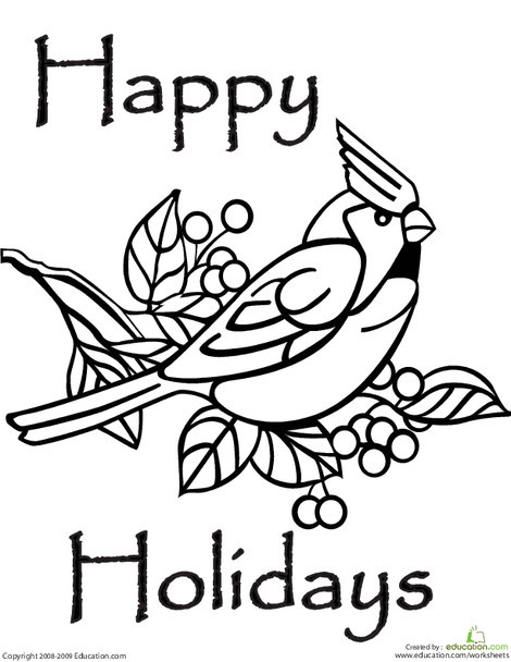 Preschool Holidays Worksheets: Happy Holidays Coloring Page