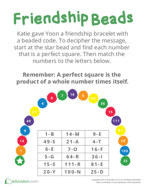 Fourth Grade Math Worksheets: Perfect Square Number Bracelet