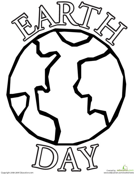Kindergarten Coloring Worksheets: Color the Earth Day Planet