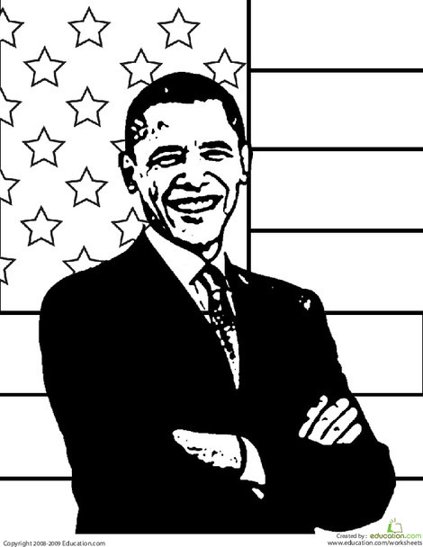 Second Grade Holidays Worksheets: President Obama Coloring Page