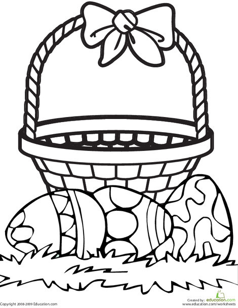Kindergarten Holidays Worksheets: Color the Easter Basket