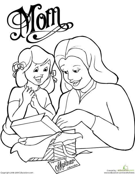 Kindergarten Holidays Worksheets: Color the Mother's Day Moment