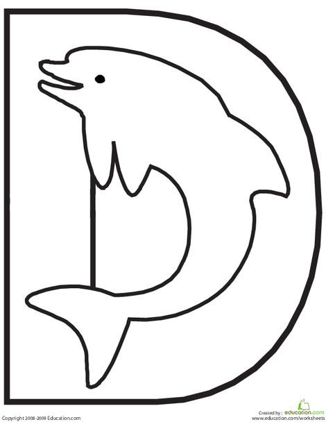 Preschool Reading & Writing Worksheets: Letter D Coloring Page