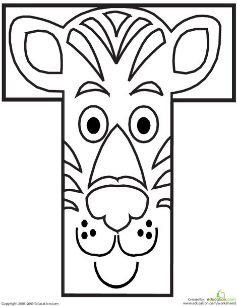 Preschool Reading & Writing Worksheets: Letter T Coloring Page