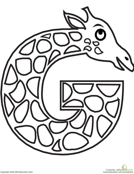 Preschool Reading & Writing Worksheets: Letter G Coloring Page