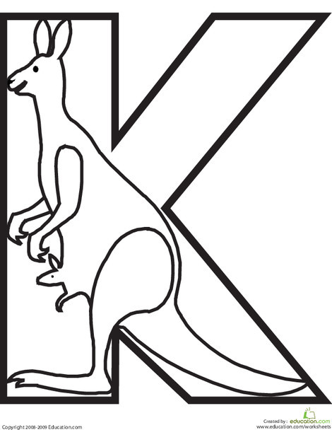 Preschool Reading & Writing Worksheets: Letter K Coloring Page