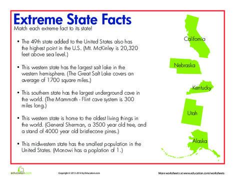 Third Grade Social studies Worksheets: State Trivia